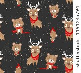 seamless pattern with bears and ... | Shutterstock .eps vector #1191245794