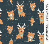 seamless pattern with bears and ... | Shutterstock .eps vector #1191245797