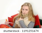 girl a cold  headache and... | Shutterstock . vector #1191251674