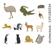 different animals cartoon icons ... | Shutterstock .eps vector #1191283534