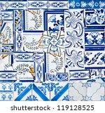 chaotic portuguese tiles ... | Shutterstock . vector #119128525