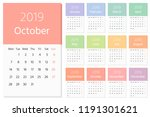 color calendar for 2019 year.... | Shutterstock .eps vector #1191301621
