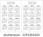 simple calendar for 2019 and... | Shutterstock .eps vector #1191301624