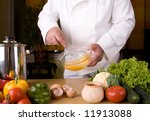 chef preparing healthy meal in ... | Shutterstock . vector #11913088