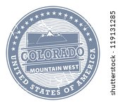 Grunge rubber stamp with text Colorado, Mountain West, vector illustration