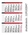february 2013 three month... | Shutterstock .eps vector #119132047