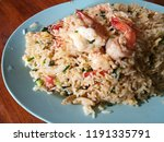 shrimp fired rice on white... | Shutterstock . vector #1191335791