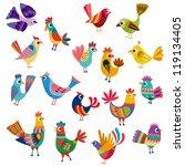 cute birds and chicks | Shutterstock .eps vector #119134405