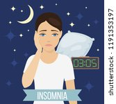 sad tired sleepy woman suffers... | Shutterstock .eps vector #1191353197