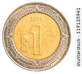 One Mexican Peso Coin Isolated...