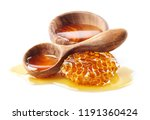 honey with honeycomb and wooden ... | Shutterstock . vector #1191360424