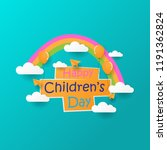 happy children's day with flat... | Shutterstock .eps vector #1191362824