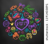 new year 2019. new year's set... | Shutterstock .eps vector #1191403891