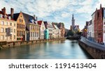 canals of bruges  belgium at... | Shutterstock . vector #1191413404