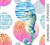 watercolor seahorse  coral reef ...   Shutterstock . vector #1191416101
