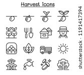 harvest icon set in thin line... | Shutterstock .eps vector #1191417394