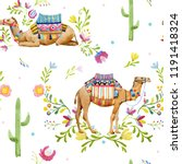 watercolor pattern  camel with... | Shutterstock . vector #1191418324