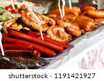 assortment of grilled sausages... | Shutterstock . vector #1191421927