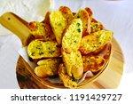 pile of garlic bread baked... | Shutterstock . vector #1191429727
