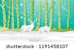 deer forest in winter style of... | Shutterstock .eps vector #1191458107