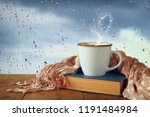 coffee cup on a rainy day over... | Shutterstock . vector #1191484984