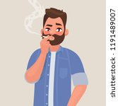 man is smoking a cigarette.... | Shutterstock .eps vector #1191489007