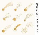 golden comet and shooting star. ... | Shutterstock .eps vector #1191537247