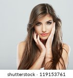 woman face with hair motion on... | Shutterstock . vector #119153761