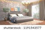 bedroom interior. 3d... | Shutterstock . vector #1191543577