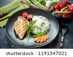 grilled chicken fillet on plate ... | Shutterstock . vector #1191547021