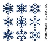 vector snowflakes icons. set of ... | Shutterstock .eps vector #1191552427