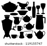 black dishes silhouettes set... | Shutterstock .eps vector #119155747