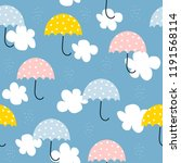 childish seamless pattern with... | Shutterstock .eps vector #1191568114