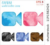 camera watercolor icon set.... | Shutterstock .eps vector #1191582424