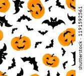 seamless pattern halloween... | Shutterstock .eps vector #1191592561