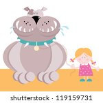 small girl and huge dog | Shutterstock .eps vector #119159731