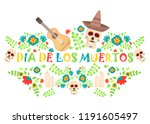 day of the dead poster  mexican ... | Shutterstock .eps vector #1191605497
