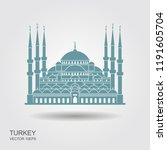 sultan ahmed mosque  istanbul ... | Shutterstock .eps vector #1191605704