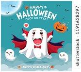 vintage halloween poster design ... | Shutterstock .eps vector #1191628297