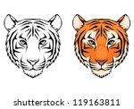 Line Illustration Of A Tiger...