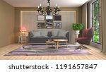 interior of the living room. 3d ... | Shutterstock . vector #1191657847