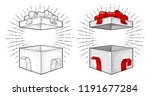 open gift box with ribbon  bow  ... | Shutterstock .eps vector #1191677284