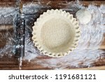homemade butter pie crust in... | Shutterstock . vector #1191681121