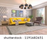 interior of the living room. 3d ... | Shutterstock . vector #1191682651