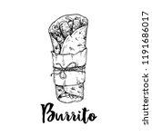 hand drawn sketch style burrito ... | Shutterstock .eps vector #1191686017