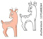 cute deer doodle illustration. | Shutterstock .eps vector #1191688264