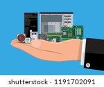motherboard  hard drive  cpu ... | Shutterstock .eps vector #1191702091