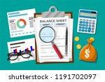 clipboard with balance sheet... | Shutterstock .eps vector #1191702097