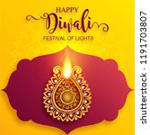 happy diwali festival card with ... | Shutterstock .eps vector #1191703807