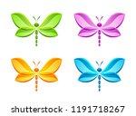 butterfly set on a white... | Shutterstock .eps vector #1191718267